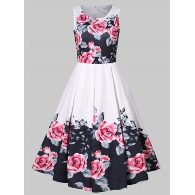 Vintage Floral Print High Waist Pleated Dress (WHITE)
