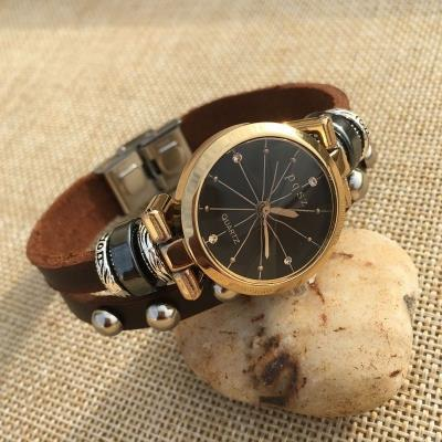 Vintage Unisex Fashion Leather Bracelet Watch Quartz Watch Wristwatch