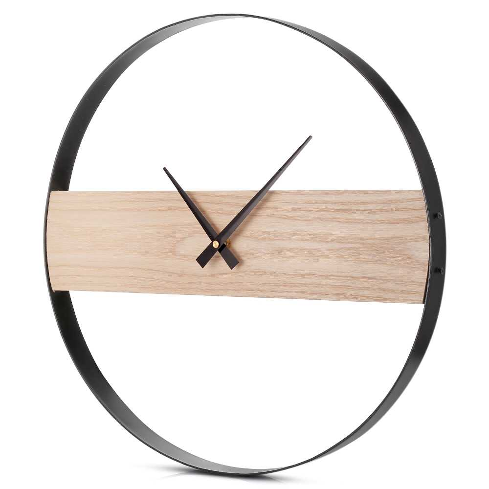 Vintage Wooden Wall Clock Decorative Hanging Watch for Home Office Bar (Wood)