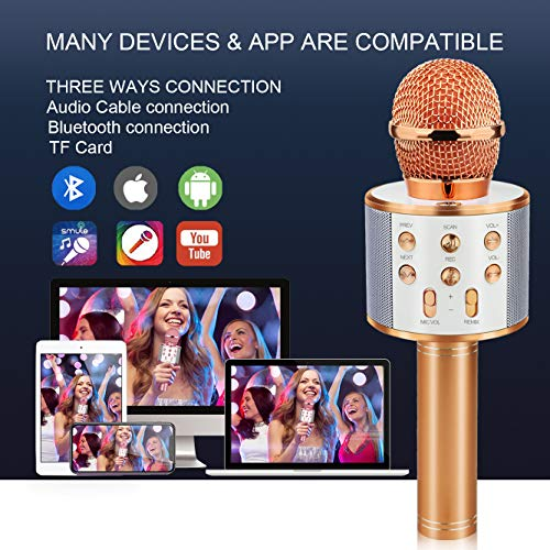 Viposoon Birthday Gifts for 4-12 Year Old Girls, Wireless Karaoke Microphone f