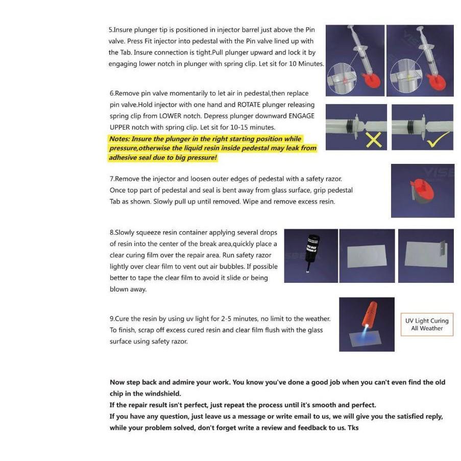 Visbella Windshield Repair Kit DIY Car Window Windscreen Glass Crack Repair  To