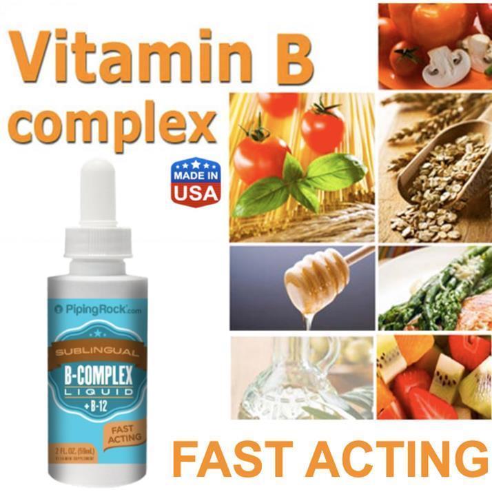 Vitamin B-Complex Liquid + B12, Sublingual 59ml, (Hair, Skin, PMS) USA