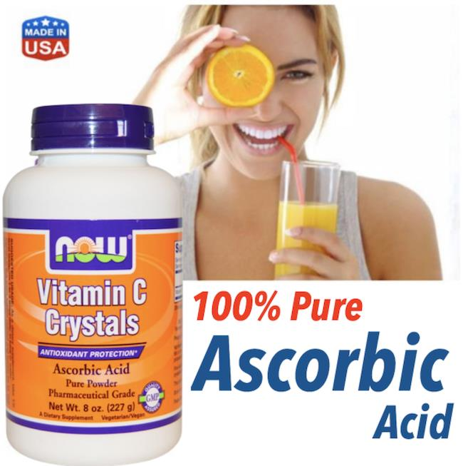 Vitamin C Crystals Ascorbic Acid Powder, 100% Vegetarian (USA)
