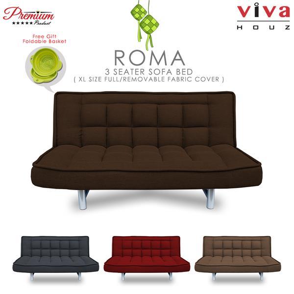 Viva Houz Roma 3 Seater Sofa Bed Dark Brown