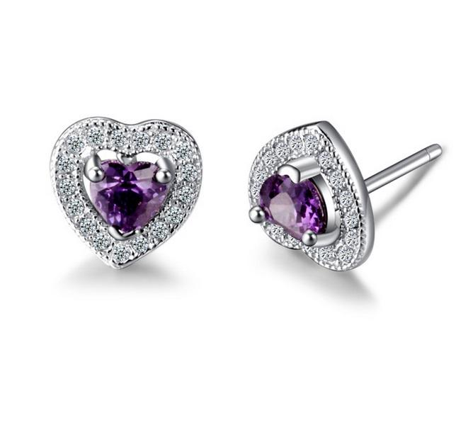 Vivere Rosse Amethyst Heart Genuine 925 Sterling Silver Earrings
