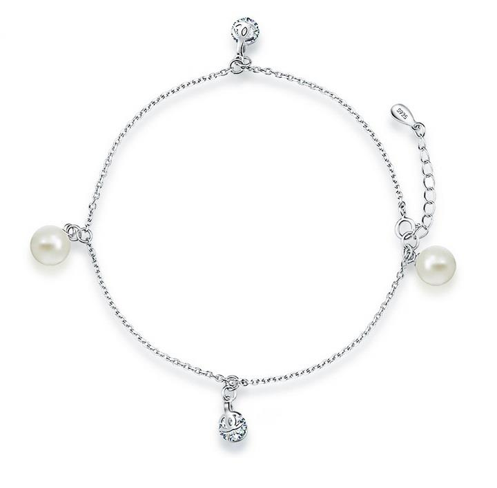 Vivere Rosse Classy Pearl Genuine 925 Sterling Silver Anklet