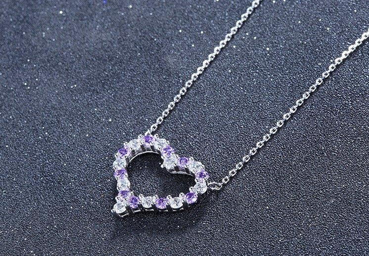Vivere Rosse Dazzling Heart 925 Sterling Silver Necklace - Purple