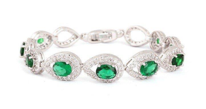 Vivere Rosse Royal Luxury Diamond Simulant Emerald Bracelet