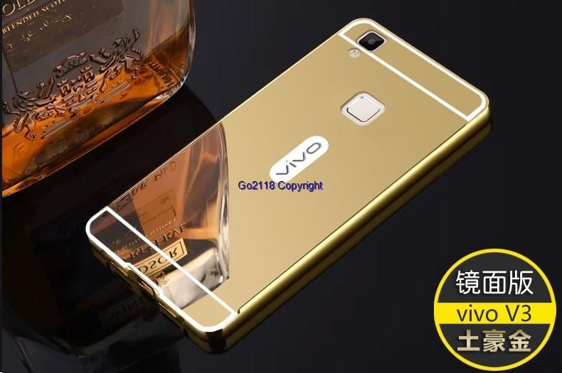 best service e5b11 bcea0 Vivo V3 24k Mirror Metal Frame Anti Drop Hard Back Case Cover Casing