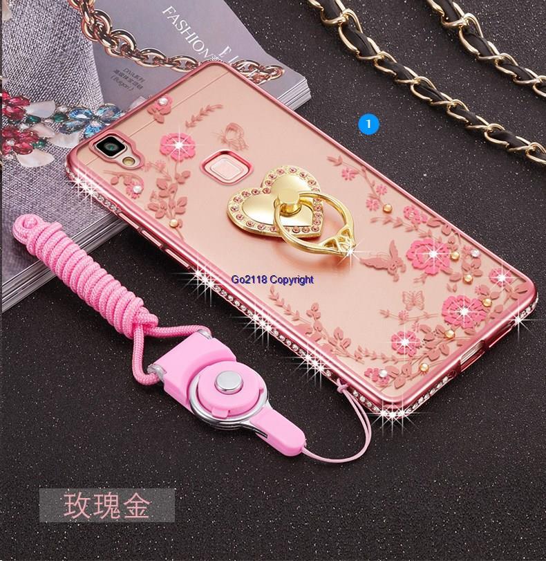 promo code 97872 89088 Vivo V3 Max Plating Diamond Soft Back Case Cover Casing+Ring Holder