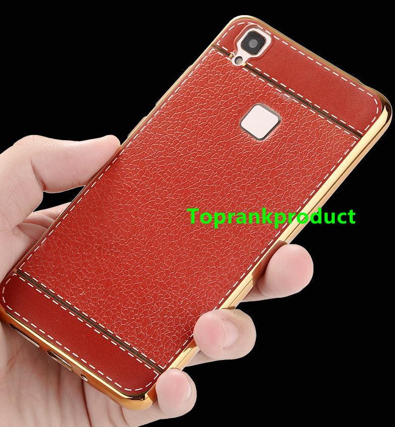 uk availability 1e7cf 6e225 ViVO V3 / Max Silicone Leather Design TPU Soft Back Case Cover Casing