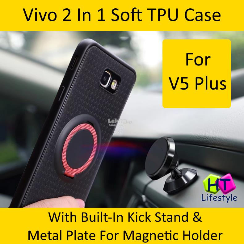 Vivo V5 Plus 2 In 1 Soft TPU Case With Kick Stand,Magnetic Holder