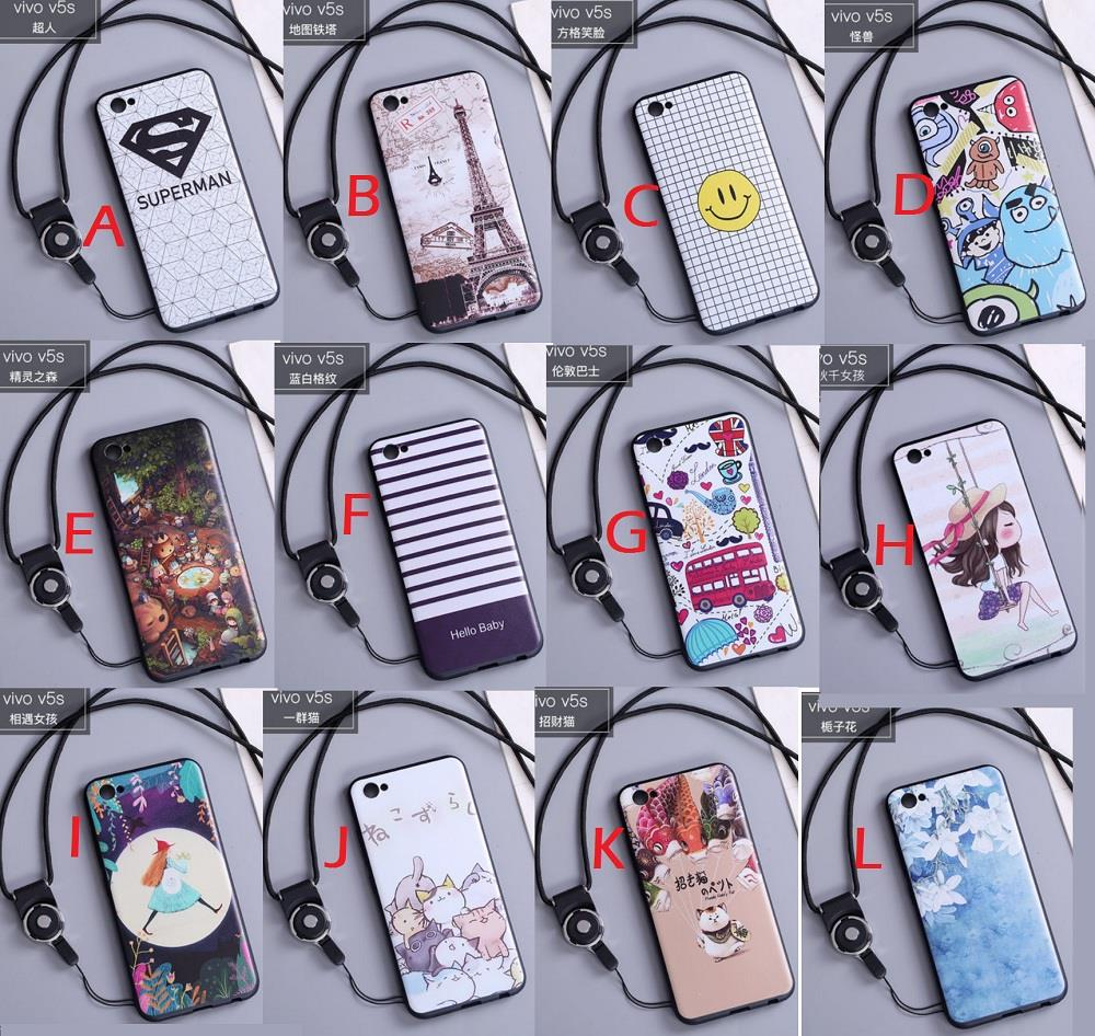 sale retailer 72aad 0e3c7 Vivo V5 V5S casing back cover cartoon with iring and strap