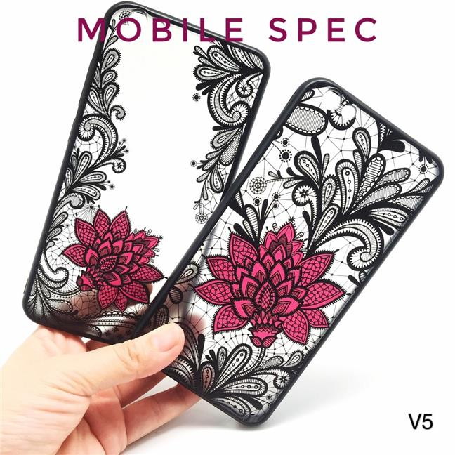 VIVO V5 V7 PLUS V9 Y85 NEX BEAUTIFUL SEXY BLACK LACE FLOWER BACK CASE
