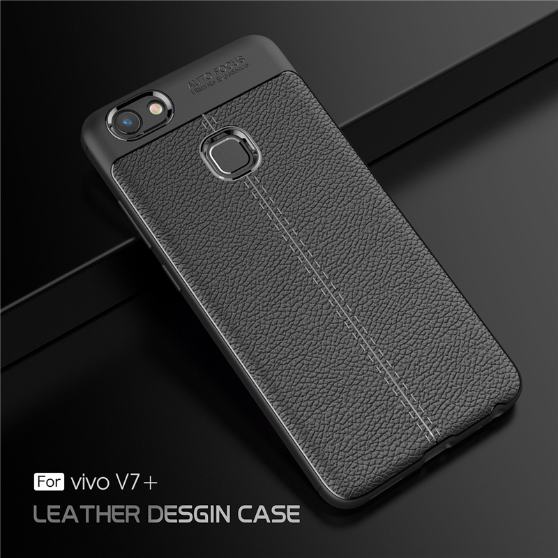 new product 96424 69f47 Vivo V7 Plus Ultra Thin Luxury PU Leather Soft Shockproof Case Cover