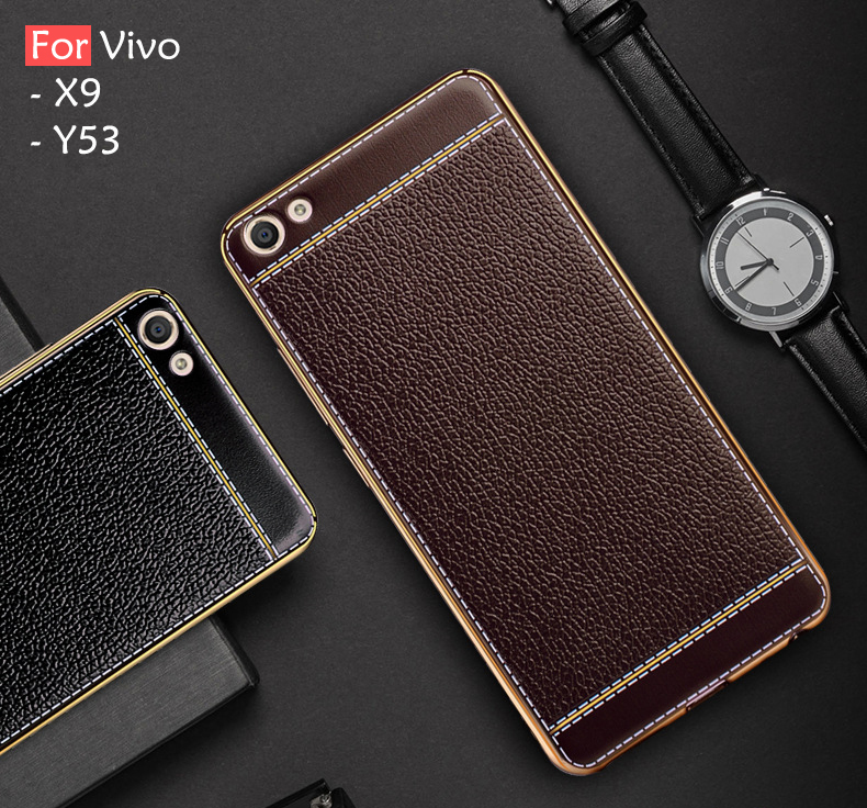 pretty nice c94c6 c228c Vivo V7 Plus Y69 Y53 X9 Soft Plating Leather Case Cover Casing Housing