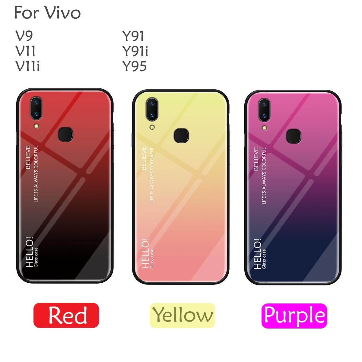 meet 21321 ce020 Vivo V9 V11 V11i Y91 Y91i Y95 Case Cover Casing Gradient Aurora Temper