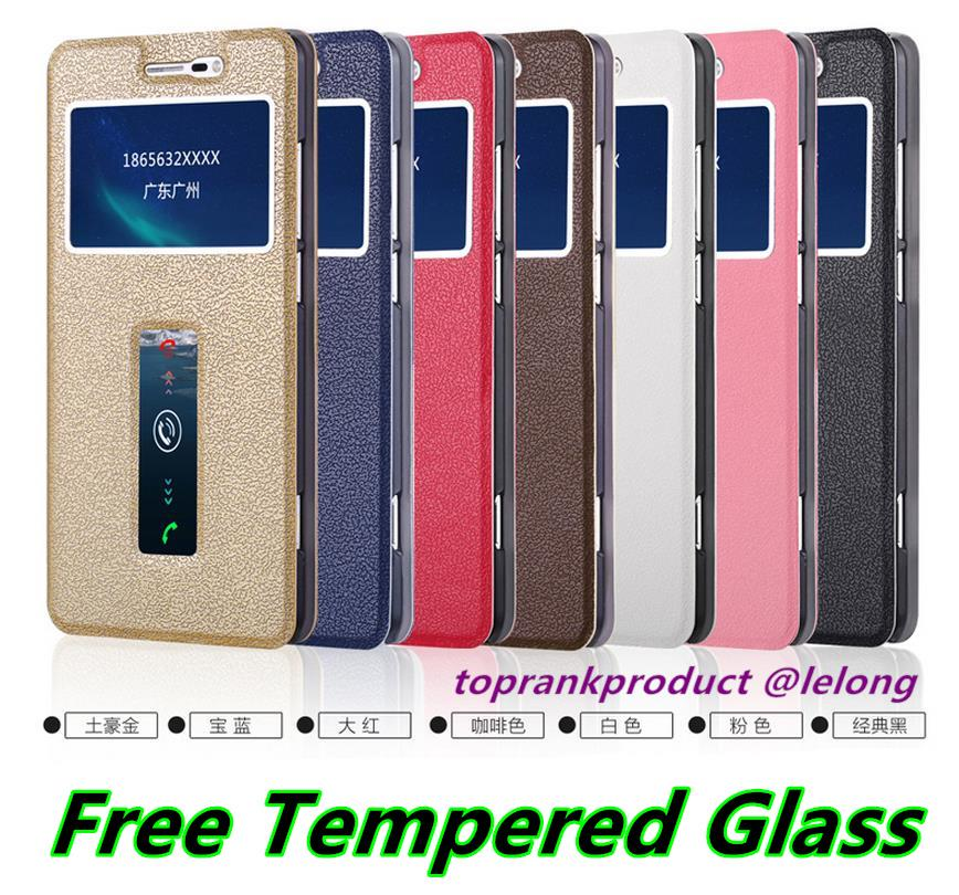 ViVO X Shot Xshot Flip Leather Case Cover Casing + Free Tempered Glass