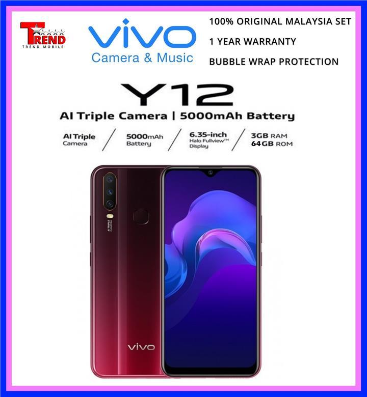 Vivo Y12 3 64gb Original Malaysia Set