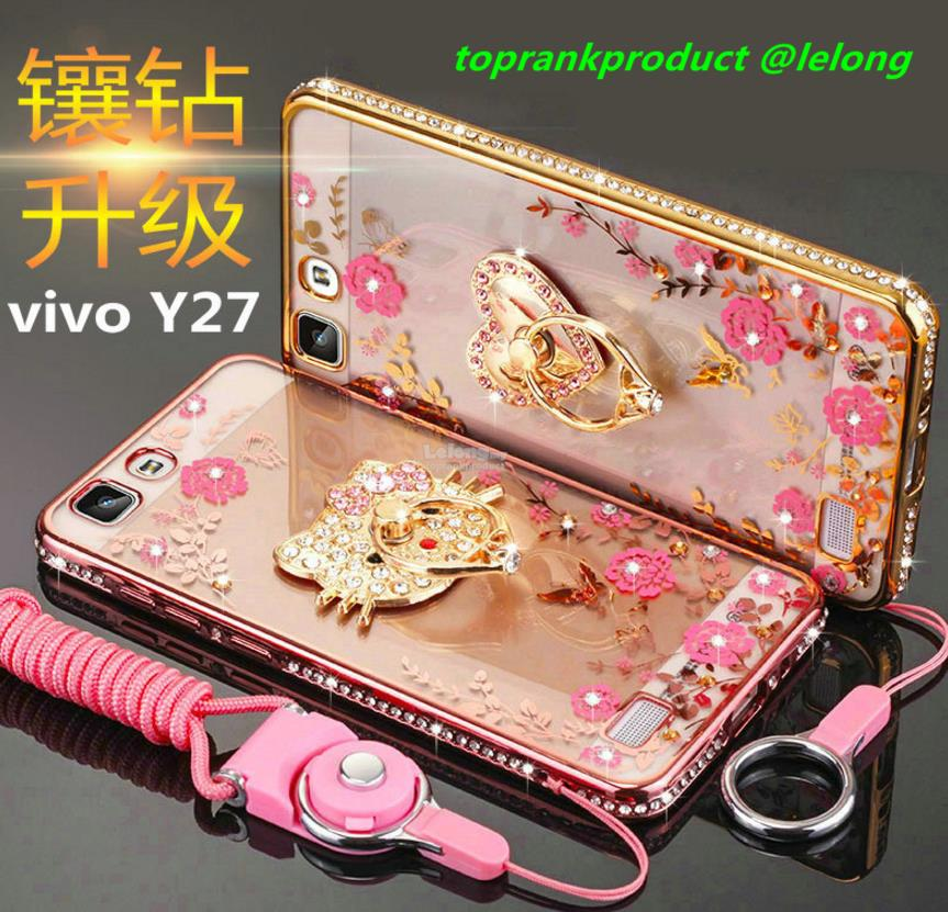 ViVO Y27 Soft Diamond Bumper TPU Case Cover Casing + Ring Holder