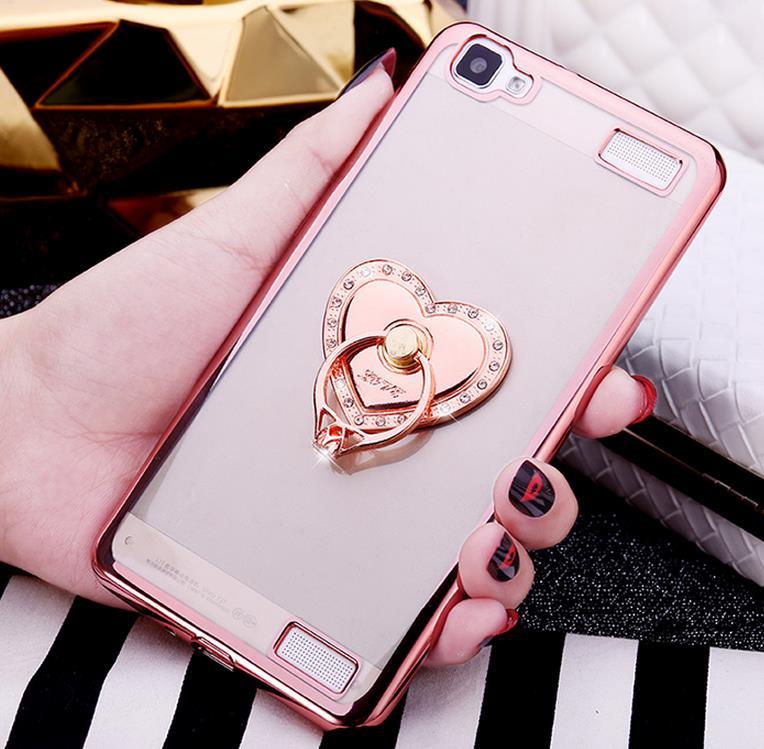 best service 761f1 273ea Vivo Y35 Y37 Y51 Silicone Case Cover Casing + Diamond Phone Ring Stand