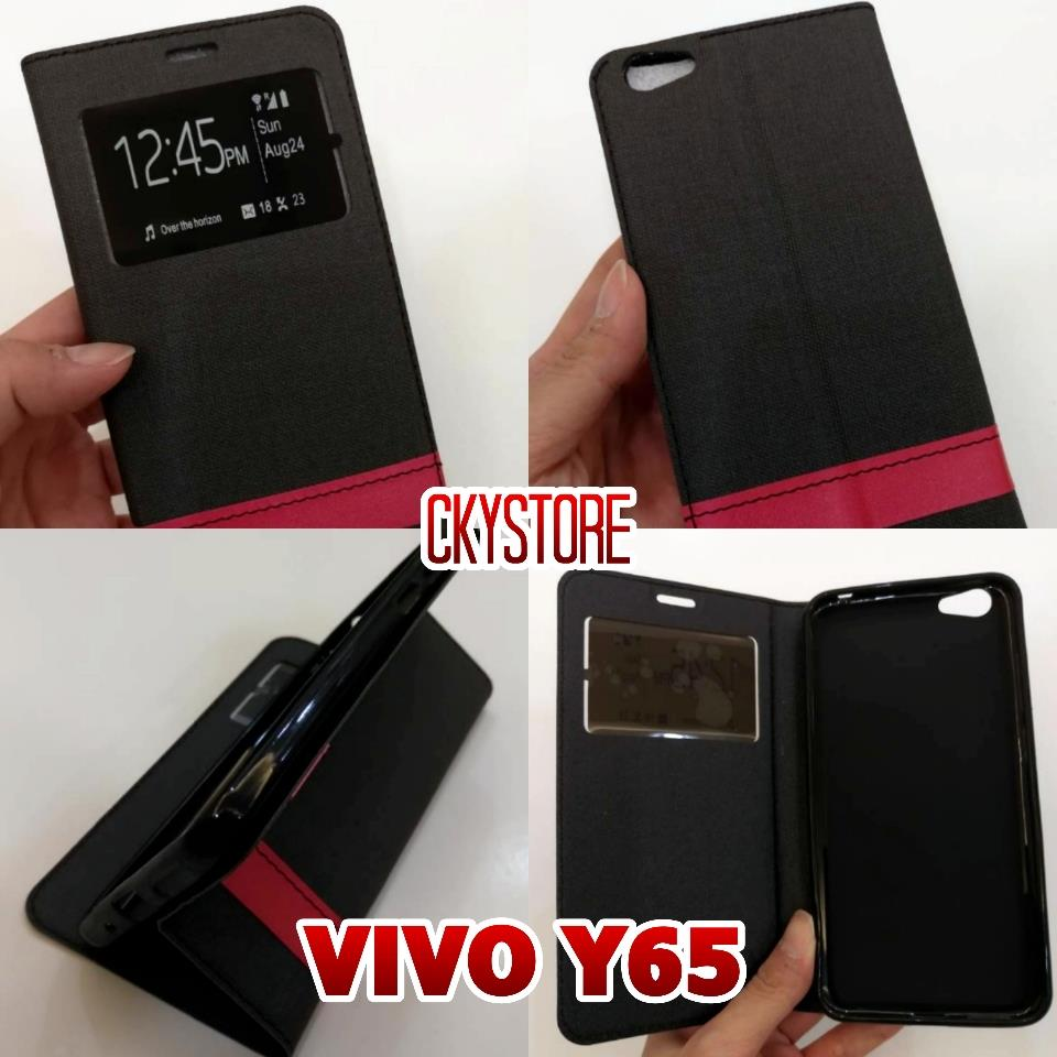 VIVO Y65 Sview Standable Flip Case and Tempered Glass