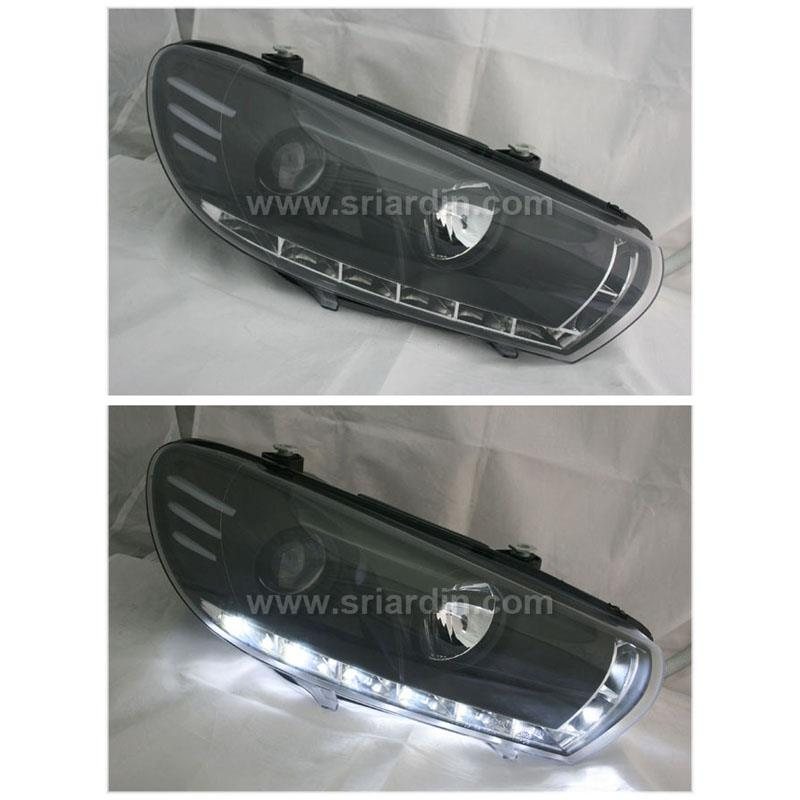 VOLKSWAGEN SCIROCCO 08-14 BLACK PROJECTOR HEADLAMP w LED