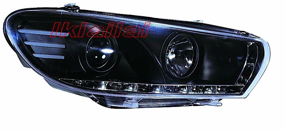 Volkswagen Scirocco '09 Projector Head Lamp DRL Black Housing