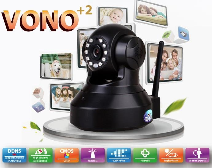 VONO+2 WIRELESS N 300MBPS PANT/TILT IP CAMERA (TV01) BLK/WHT