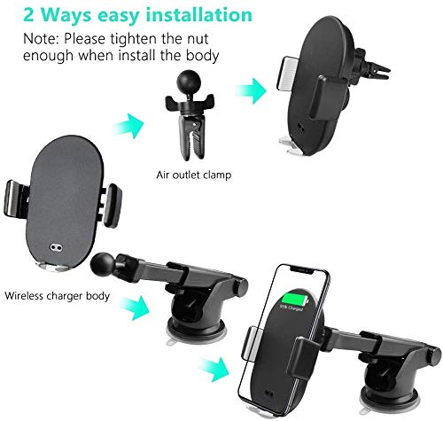 VRURC Wireless Car Charger Mount, Auto Clamp 10W Qi Fast Charge 5W Car Phone M
