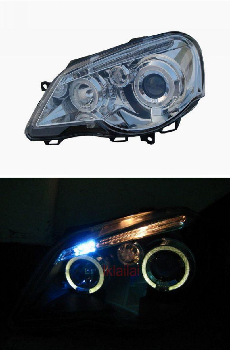 VW Polo 05 LED Ring Projector Head Lamp [With / Black]