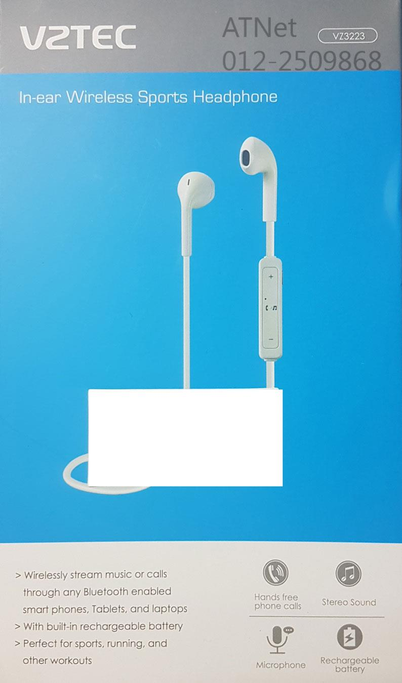 VZTEC IN-EAR BLUETOOTH WIRELESS SPORTS HEADPHONE (VZ3223) WHITE