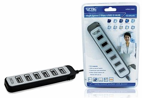 VZTEC/ VETOP 7 PORT USB HUB WITH ADAPTER, VZ-UH2081