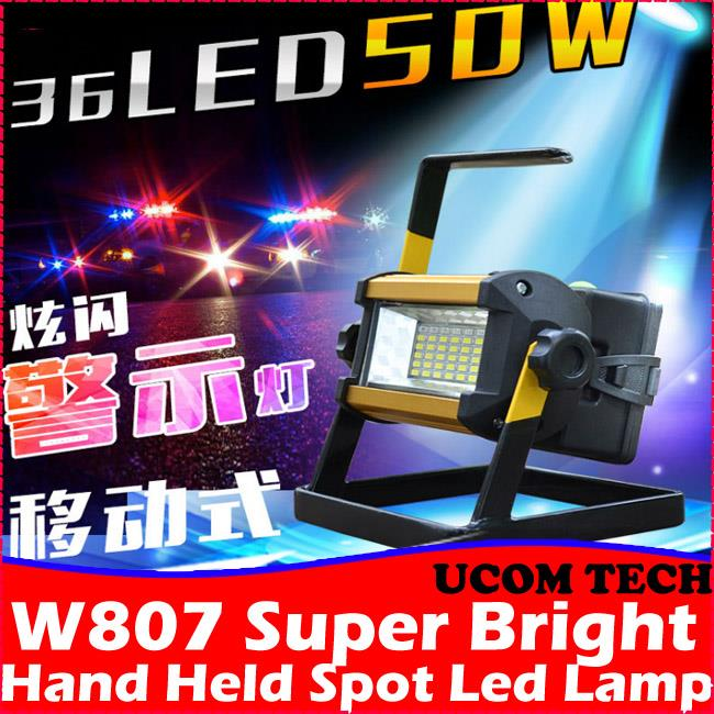 W807 Super Bright Hand Held Spot Led Lamp 50w Rechargeable Torchlight