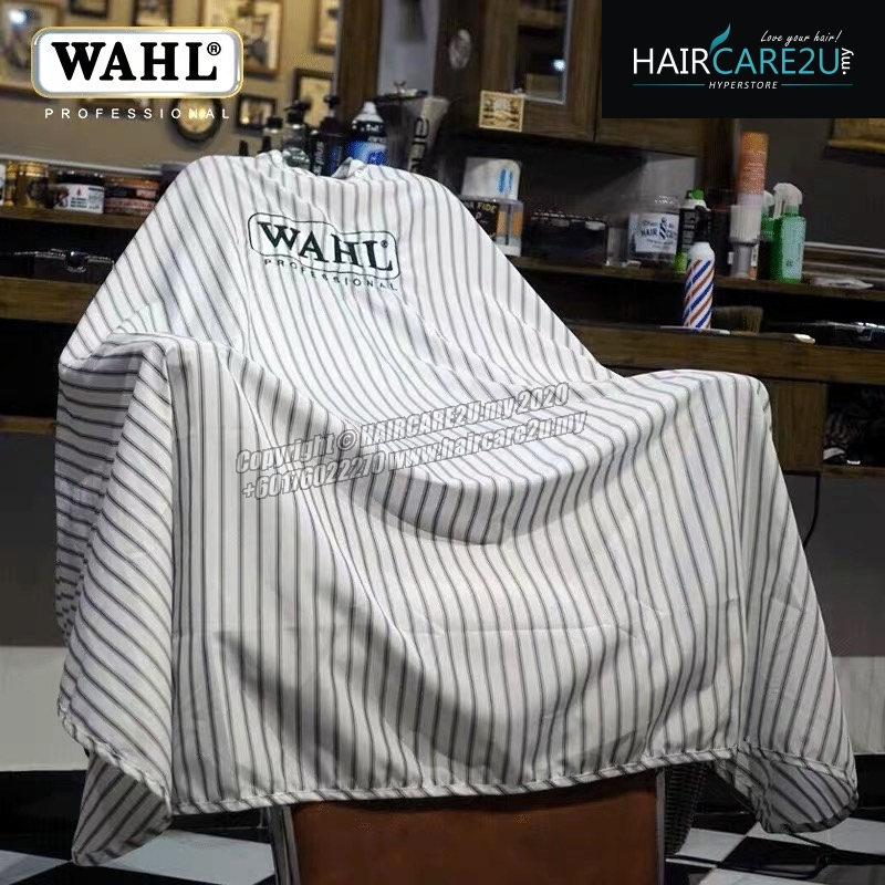 Wahl Black Stripes Embroidery Barber Salon Cutting Cape (UK Version)