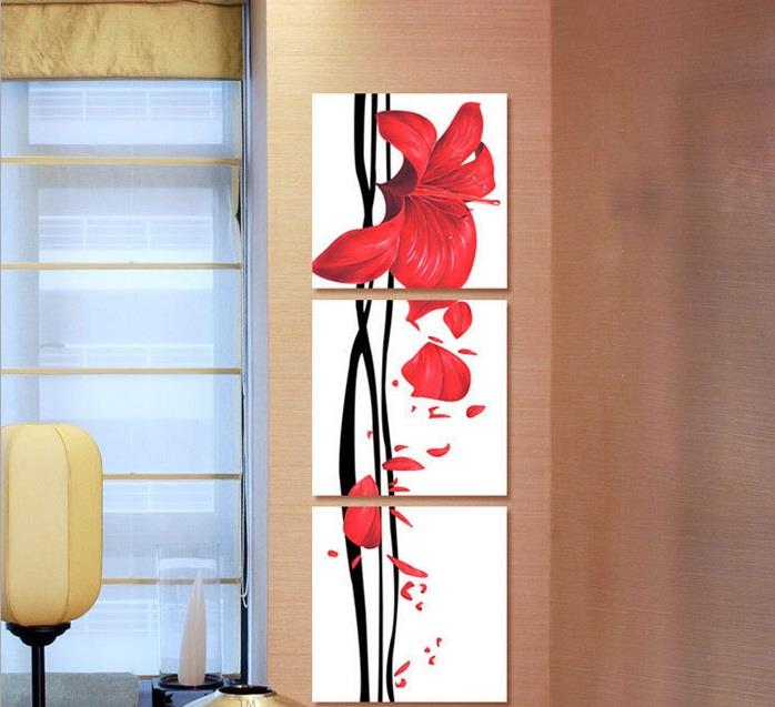 Wall Art The Flying Petals of Hibiscus Canvas Prints Wood Painting Set