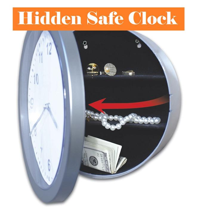 NEW!! Wall Clock with Hidden Secret Safe Storage Compartment