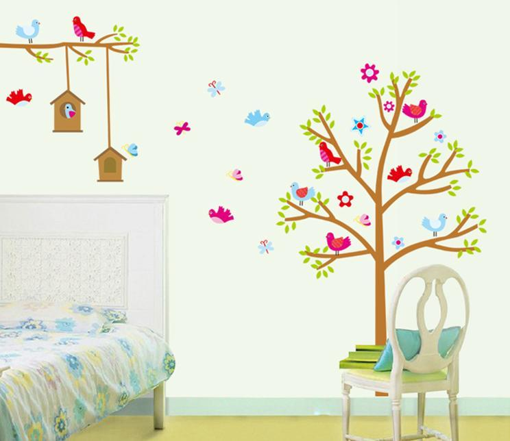 wall sticker birds house tree flower leaves children & kiddish series