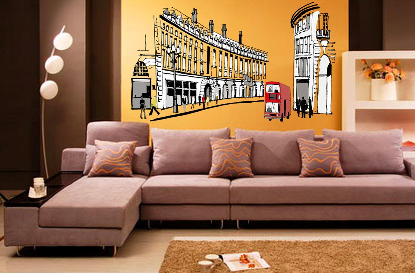 wall sticker city look building car black&white series