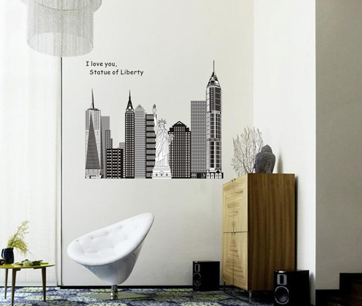 wall sticker i love you building statue of liberty