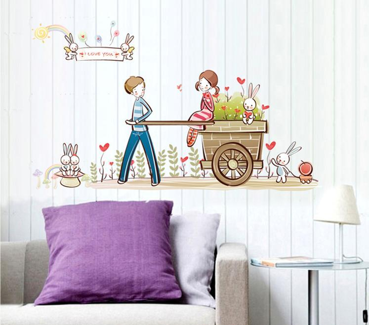 wall sticker i love you couple rabbit flower colourful & designers'