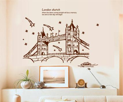 wall sticker london sketch bridge black&white series