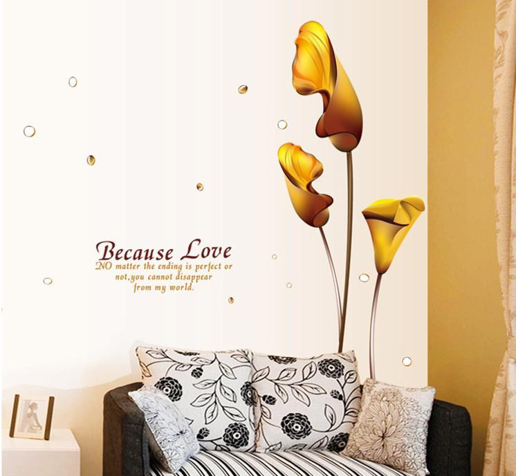 wall sticker because love golden flower colourful & designers' series
