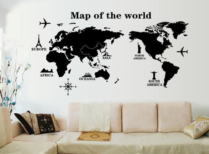 Wall Sticker Map Of The World Aeroplane Statue Of Liberty Blacku0026white Part 45