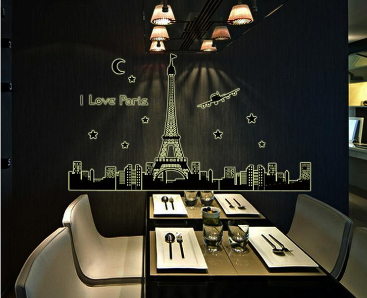 wall sticker paris tower building moon night glowing series