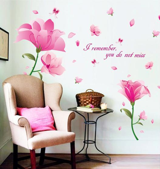 wall sticker pink flower butterfly (end 12/26/2018 8:57 pm)
