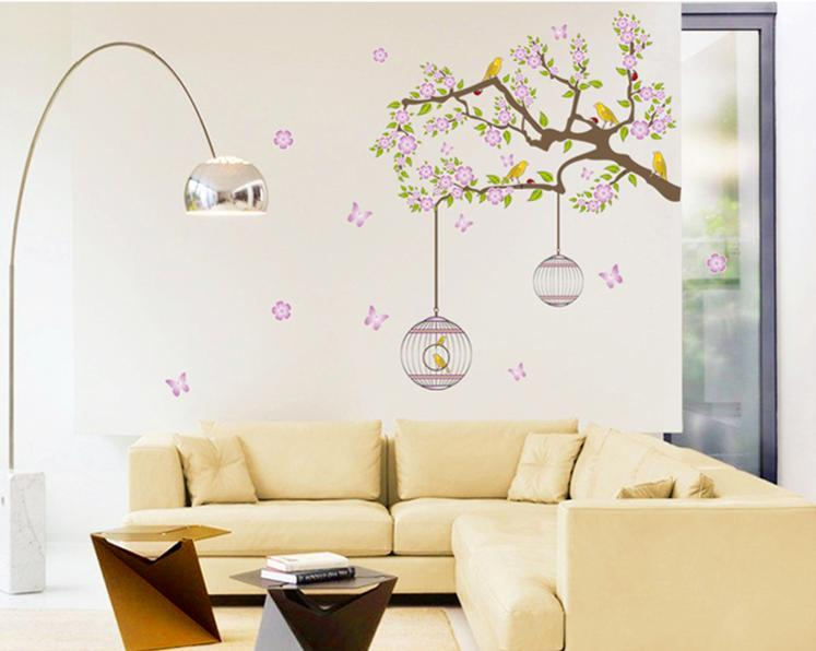 wall sticker pink flower tree bird cage colourful & designers' series