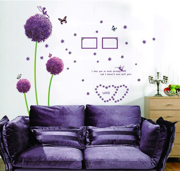 Wall sticker purple love angel butterfly flower colourful & designers'