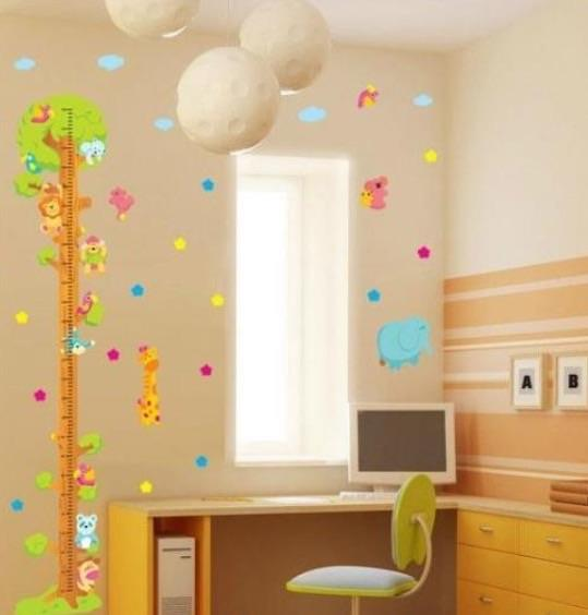 Wall Sticker Room Decor Decal Animals Tree Height Chart Measure