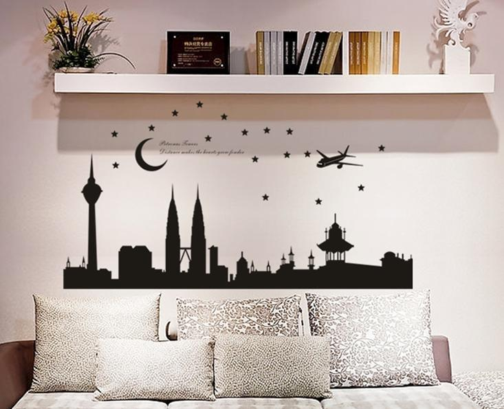 Wall sticker tower moon stars aeroplane building black&white series